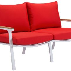 Modern Outdoor Lounge Chair Canada Barber O Que Significa Zuo Maya Beach Sofa Set Red 70357 Sr