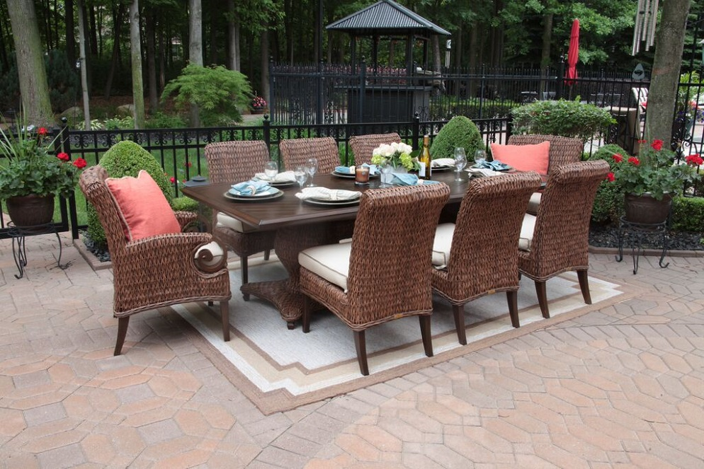 best outdoor dining chairs metal ikea lovable luxury patio furniture aerin collection all weather wicker 8