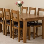 French Chateau Rustic Oak Dining Table With 6 Brown Lincoln Dining Chairs