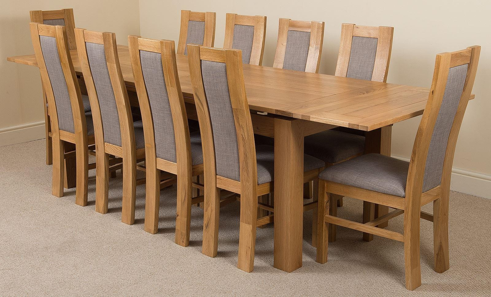 light oak dining chairs best tv watching chair richmond extending table with 10 grey stanford solid 200cm 280cm and fabric