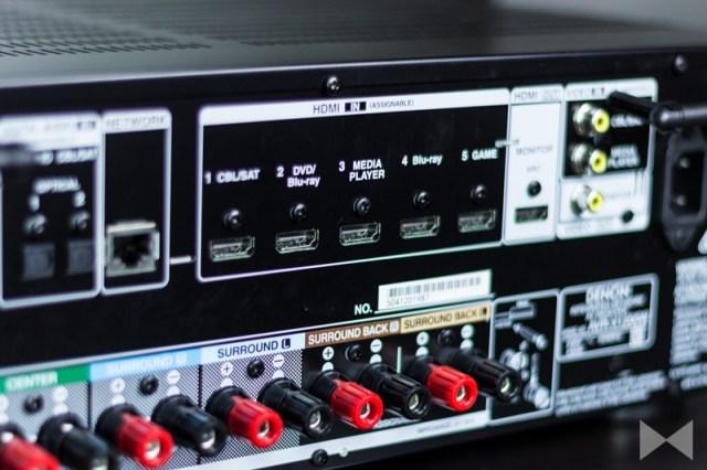 Denon-AVR-X1200W Anschlüsse auf der Rückseite des AV-Receivers