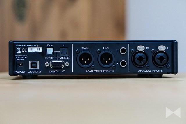 RME ADI-2 Pro Anschlüsse auf der Rückseite des HiFi-Audio-Interface