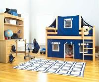 Twin+Low+Loft+Bed+with+Curtain+and+Top+Tent+Bedroom+Set ...