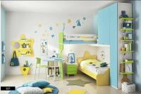 Yellow-Green Bed with White Blue Decor  Kids Bedroom ...