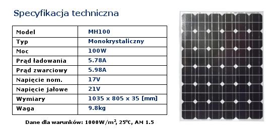Bateria słoneczna 100W - specyfikacja