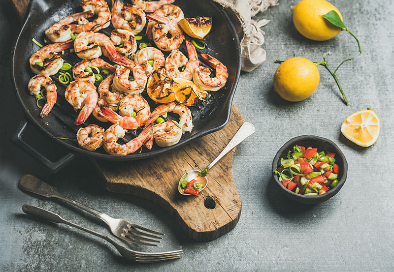 shrimp meal in cast iron cookware