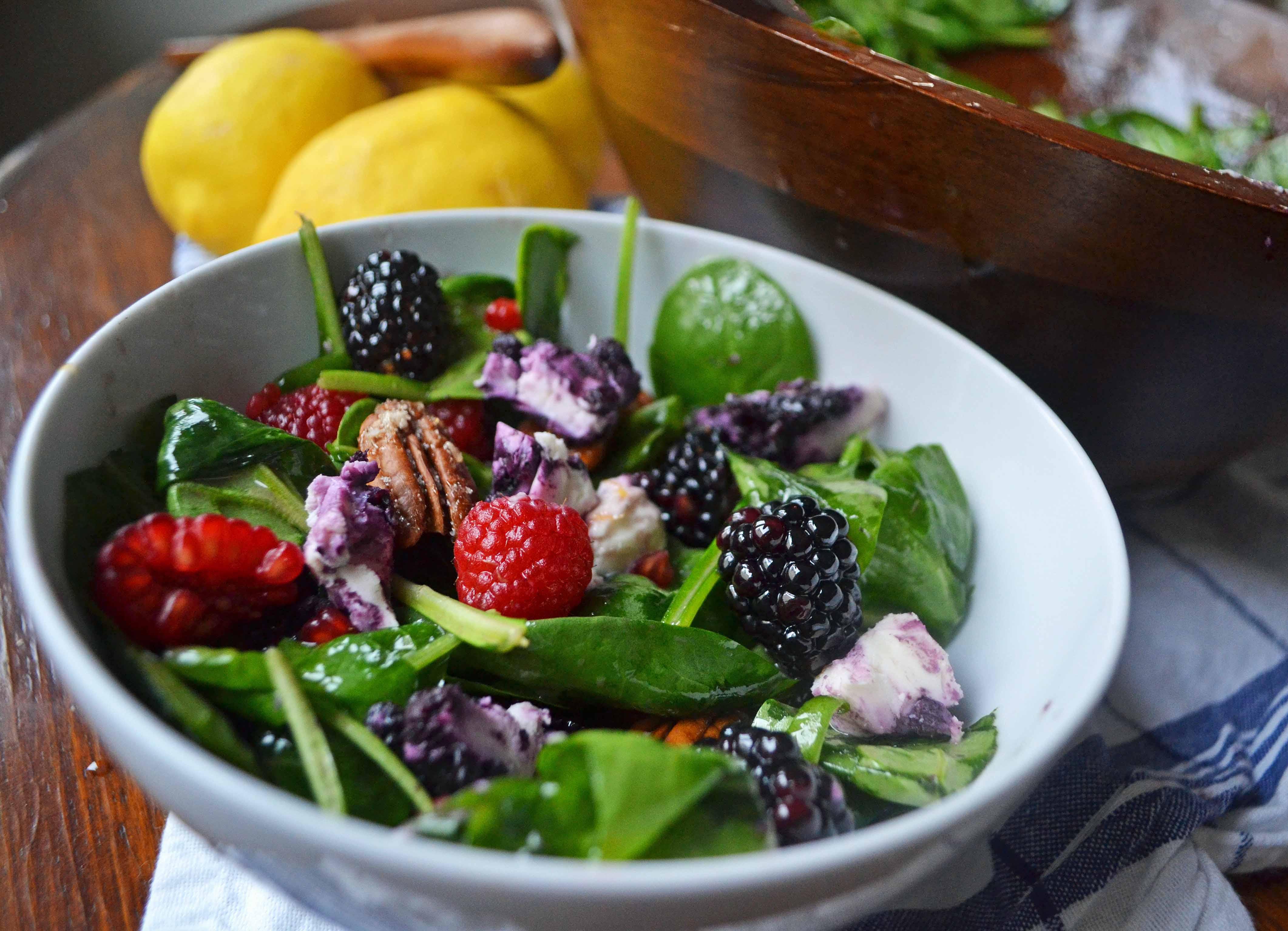 Berry Candied Pecan Salad with Lemon Vanilla Bean Dressing by Modern Honey - www.modernhoney.com