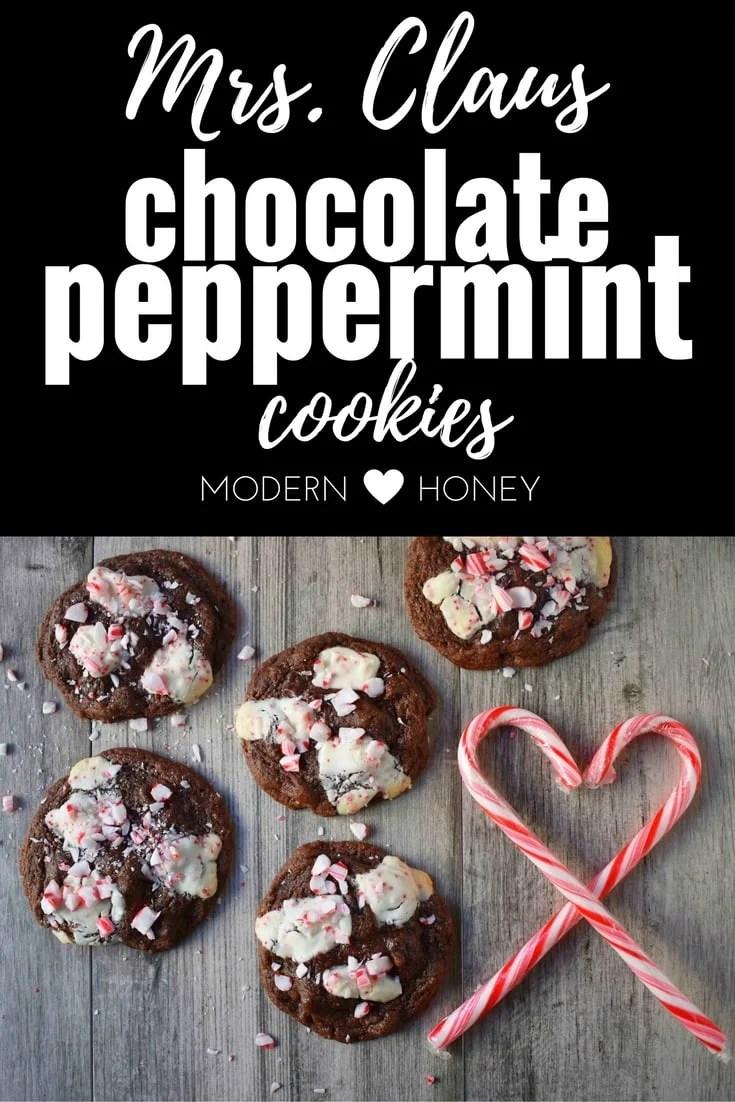 Mrs. Claus Chocolate Peppermint Cookies | Modern Honey