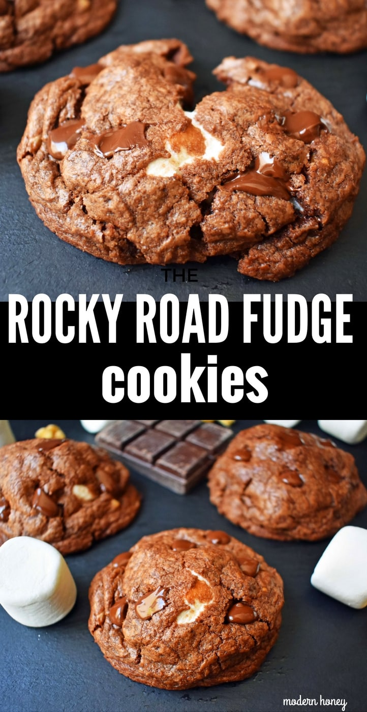Rocky Road Fudge Cookies. Rich chocolate cookie dough stuffed with melted marshmallow and walnuts. Rocky Road fudge and a cookie rolled into one. Chocolate marshmallow lovers will go crazy for this cookie! www.modernhoney.com