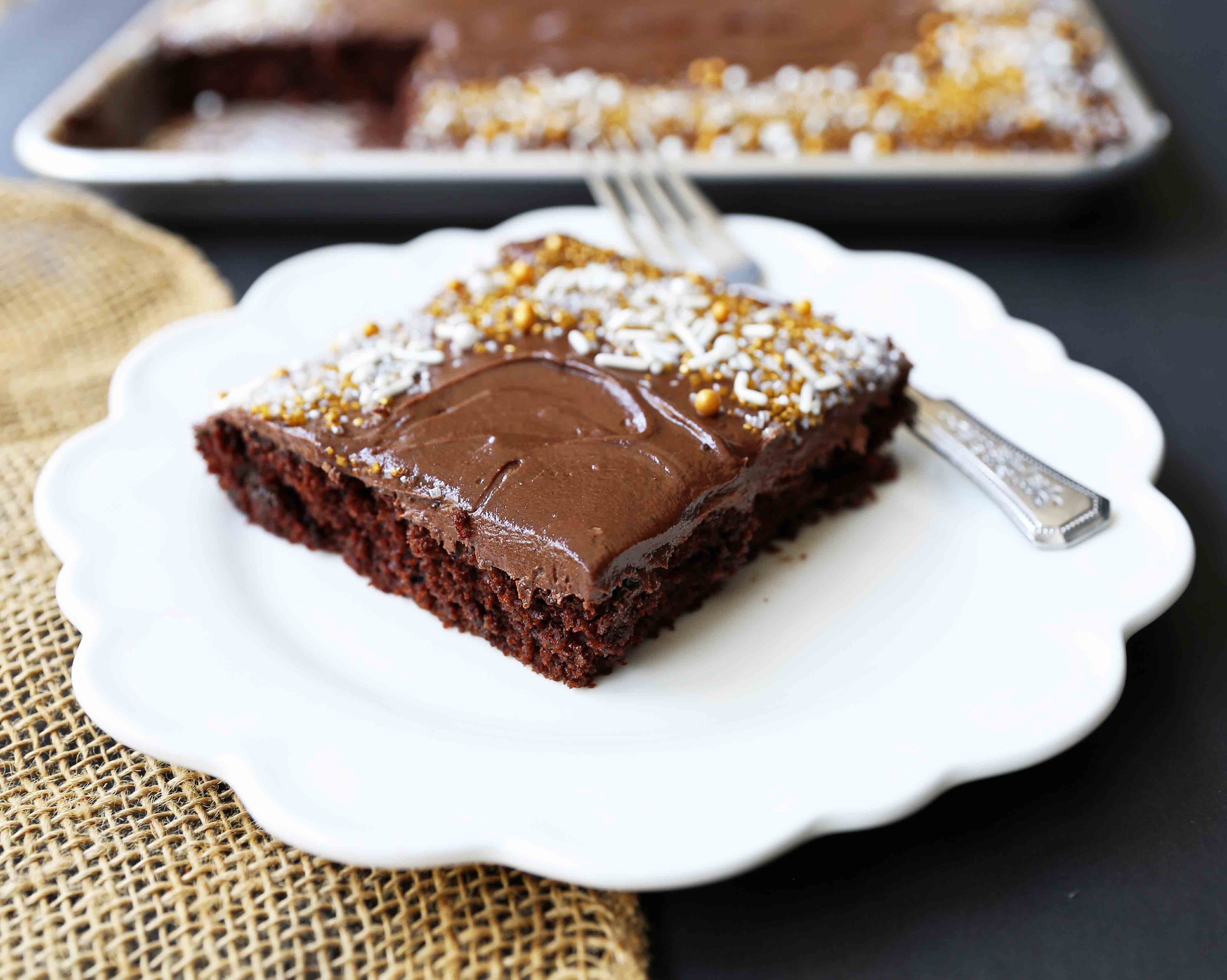 Chocolate Sheet Cake With Milk Chocolate Frosting Modern Honey