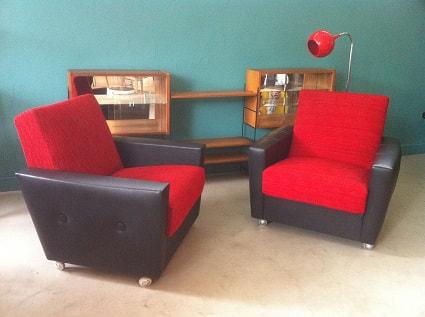 fauteuils scandinaves rouge annees 50