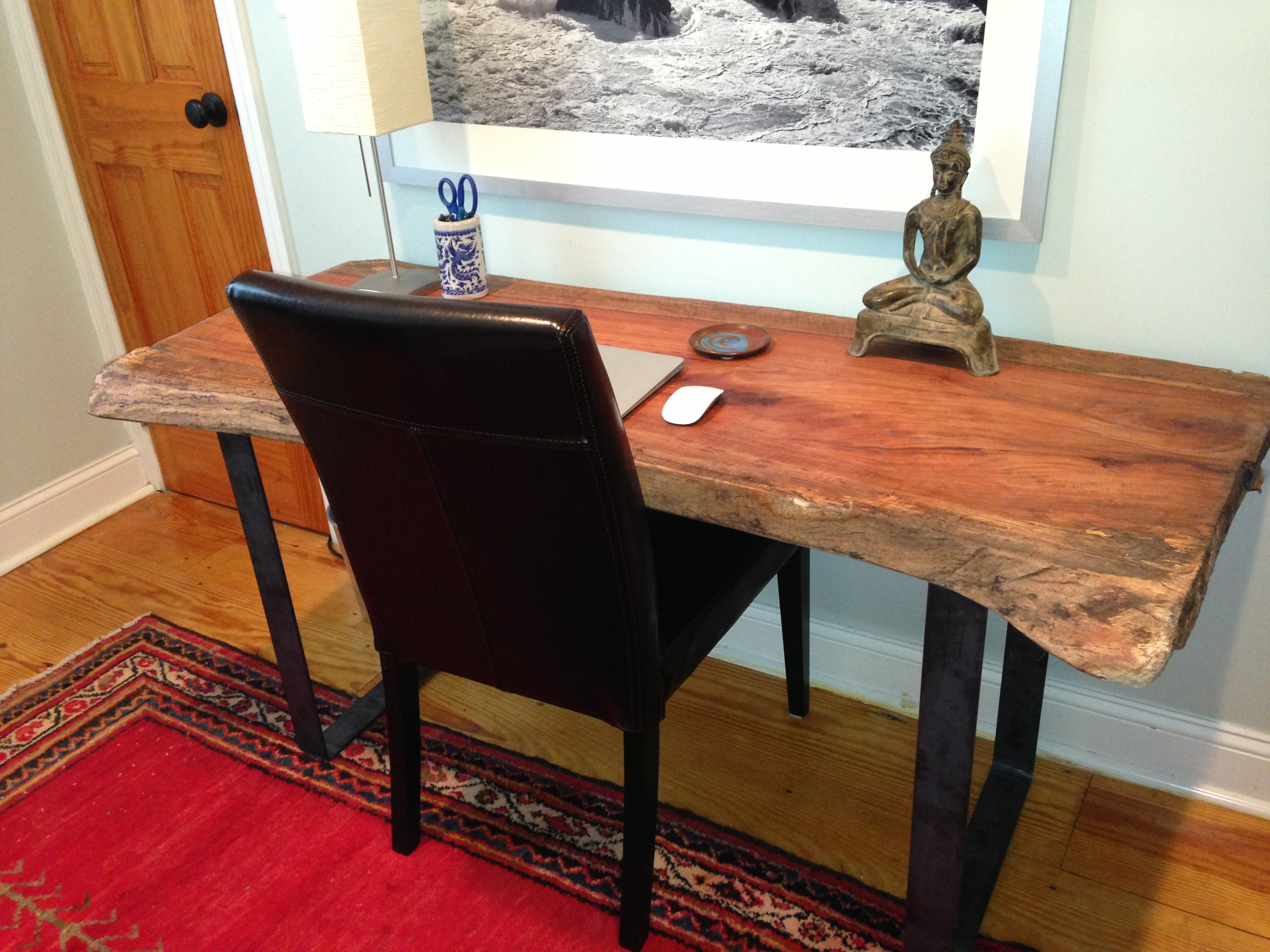 Julies Live Edge Desk with Flat Bar Desk Supports