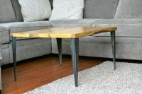 Matched Coffee Table / End Table with Tapered Angle Iron ...