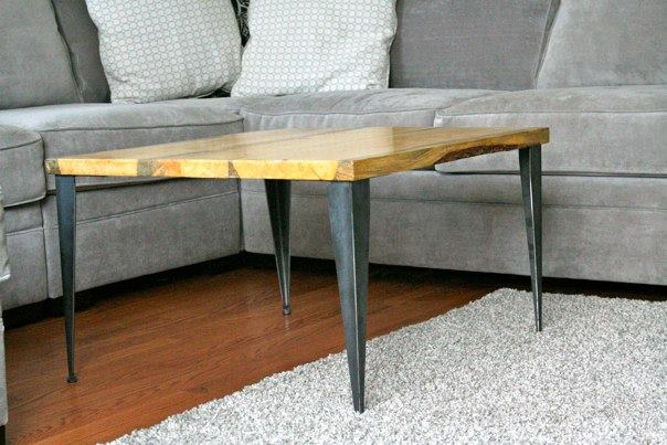matched coffee table / end table with tapered angle iron legs