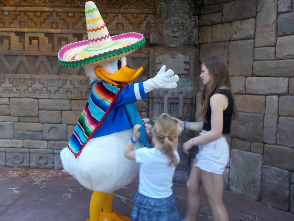 Meeting Donald Duck in EPCOT Mexico pavilion