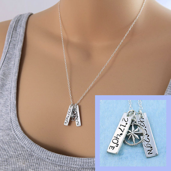 Co-ordinates and compass necklace