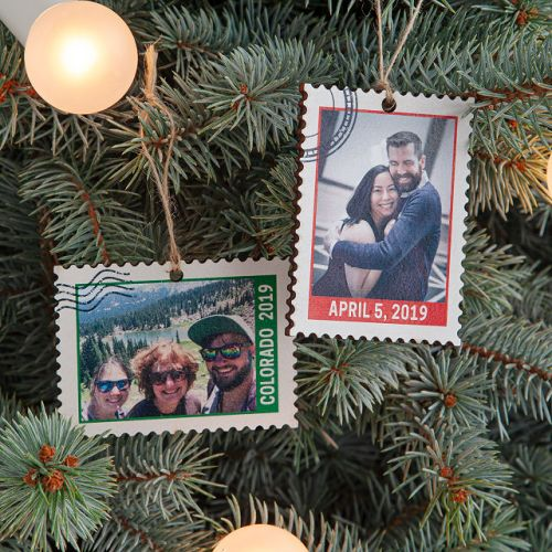 Postage stamp Christmas Tree ornament