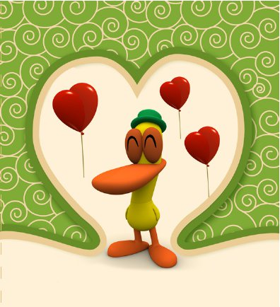 Pato from Pocoyo Valentine's Day Card