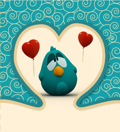 Sleepy Bird from Pocoyo Valentine's Day Card