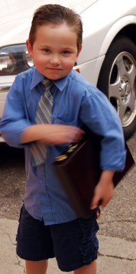Kid Heading to Work