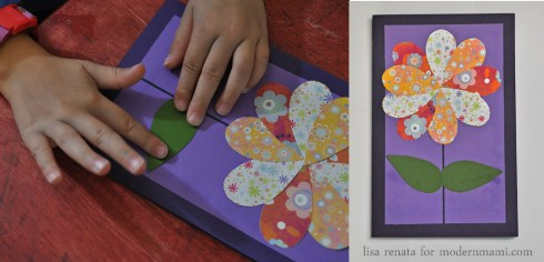 Adding Leaves to Flower on Homemade Mother's Day Card Craft for Kids
