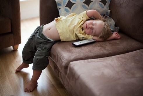 Toddler Pretending to Sleep