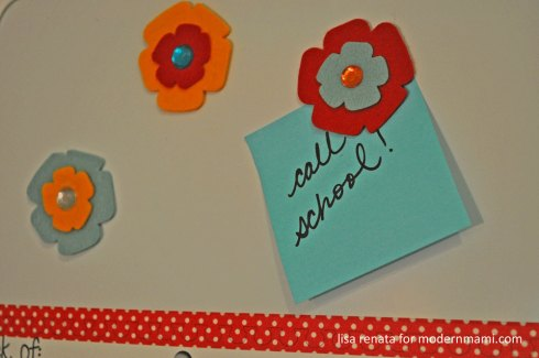 Hold notes with magnets on family calendar board