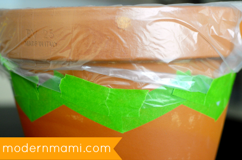 DIY Decorative Garden Pot: Masking with Tape and Plastic