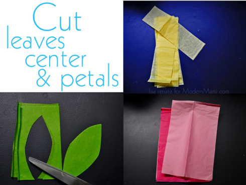 Tissue Flowers Craft: Cut petals, center, and leaves