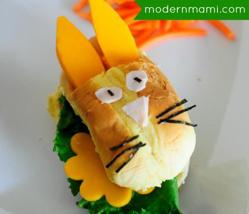 School Lunch Idea: Bento Bunny Garden with Ranch Turkey Burger Slider