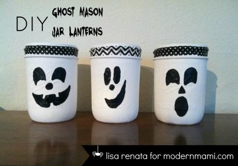 DIY Halloween Ghost Mason Jar Lanterns