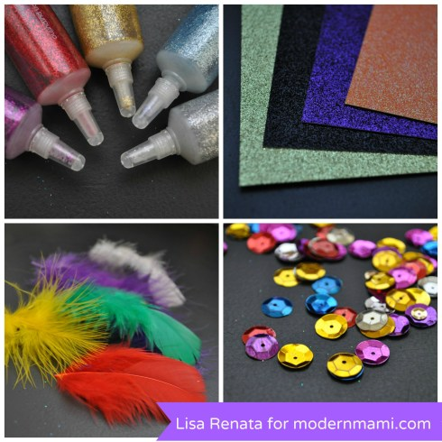 DIY New Year's Eve Glam Masks for Kids, Materials Needed