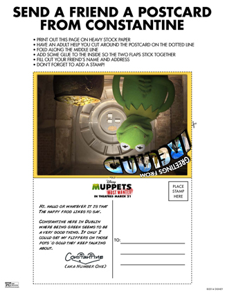 The Muppets Printable Postcard Activity Sheet for Kids