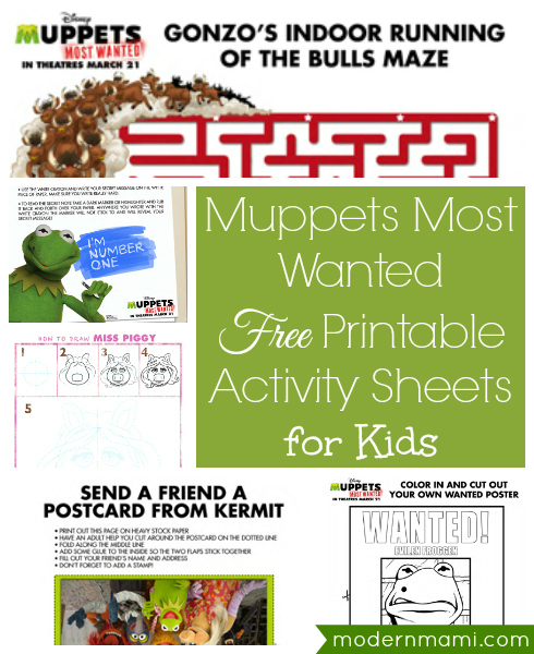 Muppets Most Wanted Free Printables & Activity Sheets for Kids