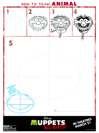 The Muppets Printable Activity Sheet for Kids: Learn How to Draw Animal