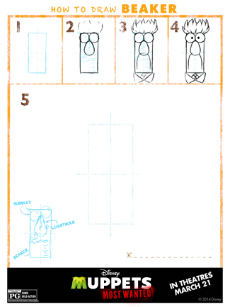 The Muppets Printable Activity Sheet for Kids: Learn How to Draw Beaker