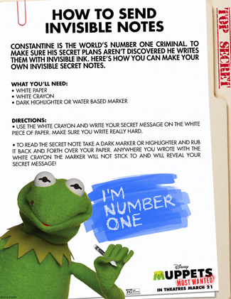 The Muppets Printable Activity Sheet for Kids: How to Send Your Own Invisible Secret Notes