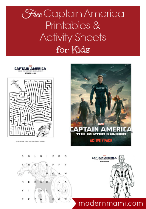 Free Captain America Printables and Activity Sheets for Kids