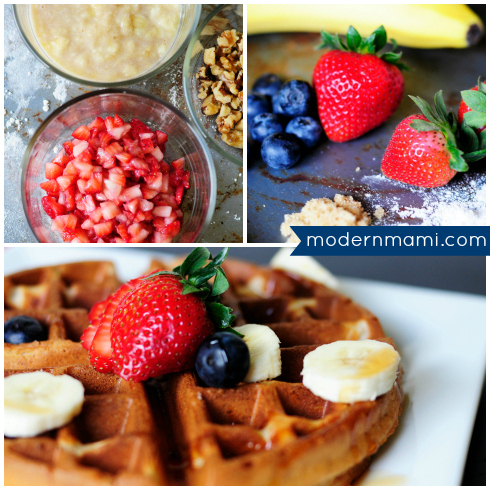 Homemade Strawberry Banana Waffles
