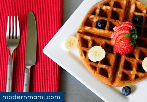 Homemade Strawberry Banana Waffles