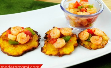 Appetizer Idea for Lent! Puerto Rican Tostones with Shrimp & Tomato Topping Recipe {Video}