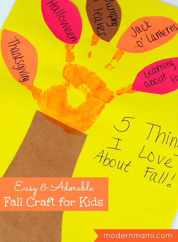 Simple Fall Craft for Kids: Handprint Tree