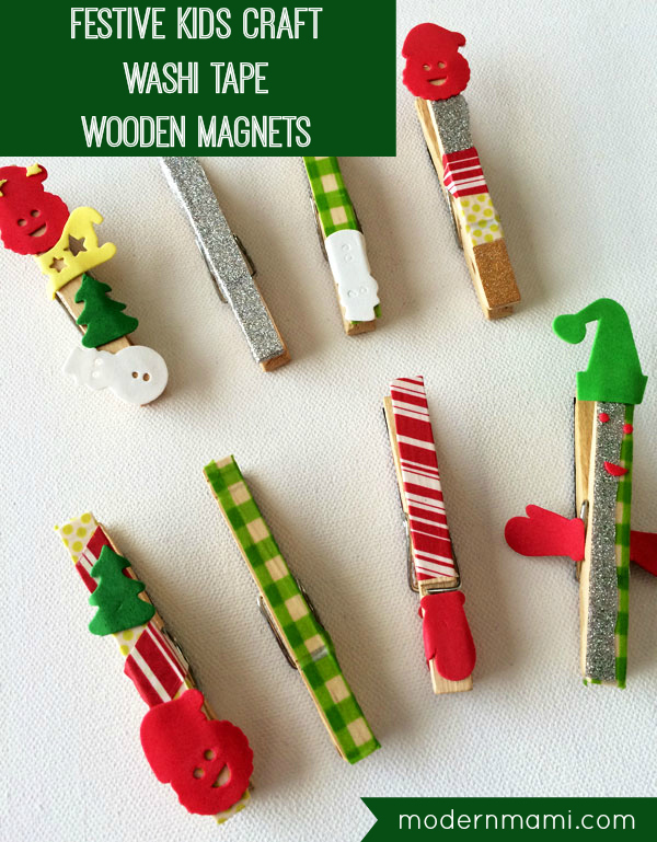 easy christmas craft ideas for kids to make simple festive wooden magnets craft 8201