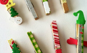 Simple, Festive Christmas Wooden Magnets {Kids Craft}