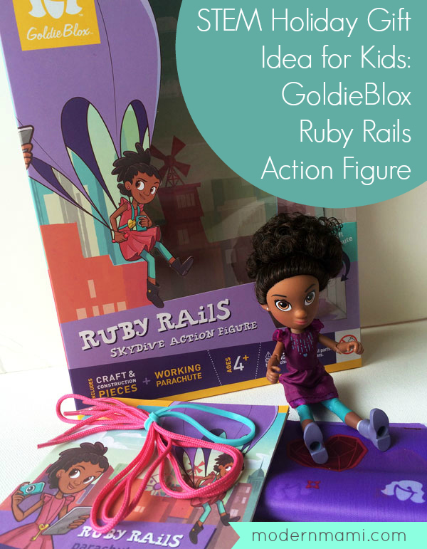 GoldieBlox Skydive Ruby Rails Action Figure with Parachute Goldie Blox Ages 4+