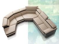 Samoa Contemporary Full Italian Leather Sectional Sofa