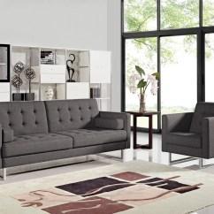 Modern Gray Sofa Set Cushy Divani Casa Bauxite Grey Fabric