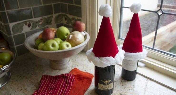 DIY Santa Hat Wine Bottle Cozies