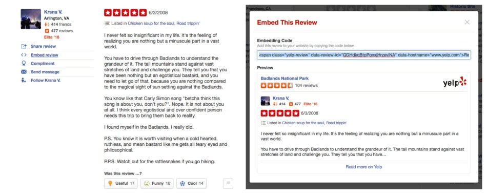 Embed a Yelp Review