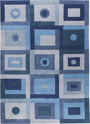 Mat Blue Hilo Abstract Rug 2 from the Textured Rugs